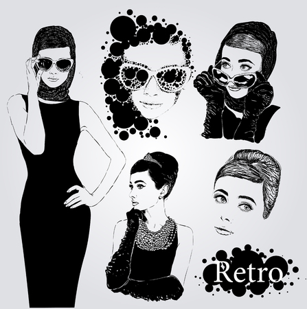 Vector set : fashion  ladies look in little black dress in 50s style Vectores