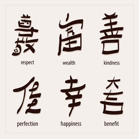 kanji: vector set :kanji with translation