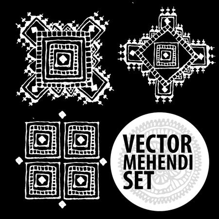 mendi: vector set : illustration mehendi, henna tattoo