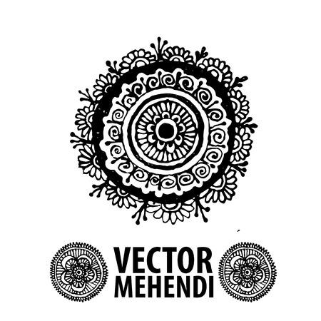bollywood: vector set : illustration mehendi, henna tattoo