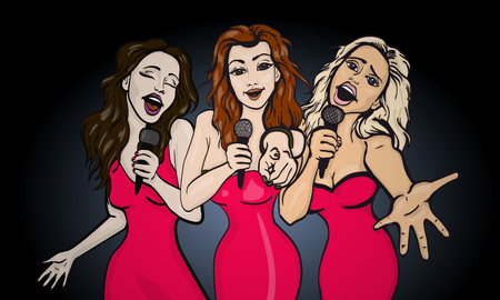 female hands: vector illustration of a three singing  woman . karaoke party . copy space