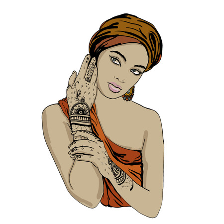 copy spase: portrait of pretty indian etnic Girl in traditional turban, with henna tatoo mehendy on her hand. vector. copy spase. Illustration