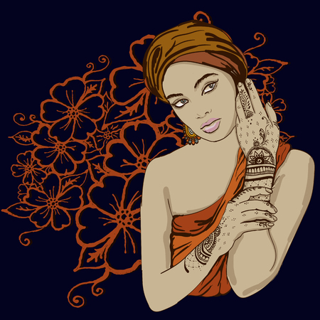 bollywood: portrait of pretty indian ethnic Girl in traditional turban, with henna tattoo mehendy on her hand. vector. copy space.