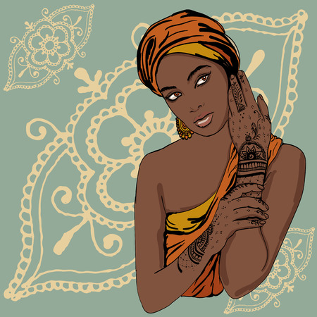 portrait of pretty african  Girl in traditional turban, with henna tattoo mehendy on her hand. vector. copy space.