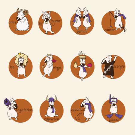 funny comic horoscope. vector icon set illustration.