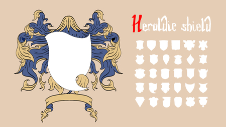 Vector heraldischen Schild-Set, 30 Schilde