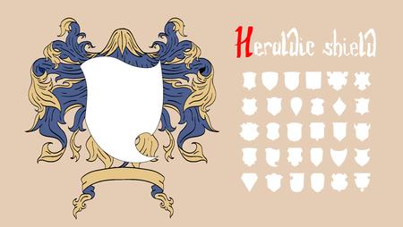 Vector heraldischen Schild-Set, 30 Schilde Vektorgrafik