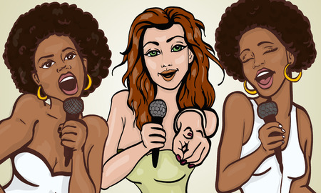 sing: vector illustration of a three singing  woman . karaoke party . copy space