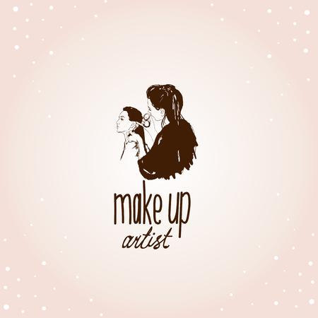 brow: Woman visagist makeup artist paints on the face of his client. Illustration