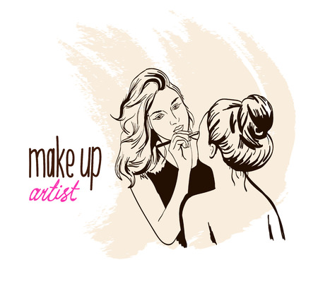 Woman visagist makeup artist paints on the face of his client. Illustration hand drawn.