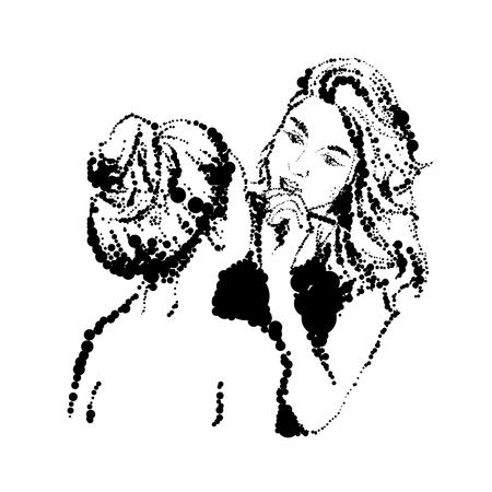 brow: Woman visagist makeup artist paints on the face of his client. Illustration drawn dots.