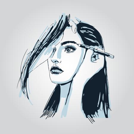 Woman visagist makeup artist paints on the face of his client. Illustration