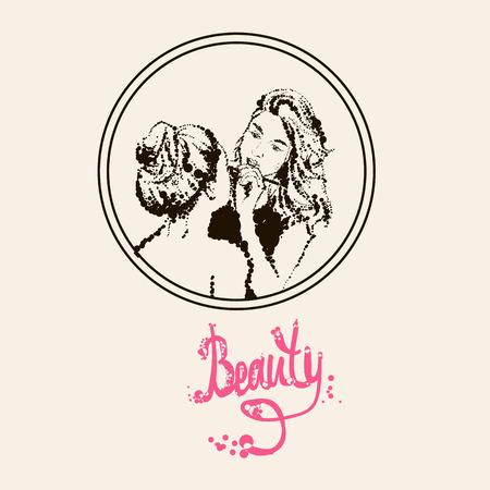 Woman visagist makeup artist paints on the face of his client. Illustration drawn dots.