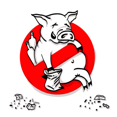 Pig line icon in prohibition red circle, No littering ban sign, forbidden symbol. Vector illustration