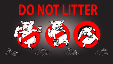 tirar basura: Pig line icon in prohibition red circle, No littering ban sign, forbidden symbol. Vector illustration