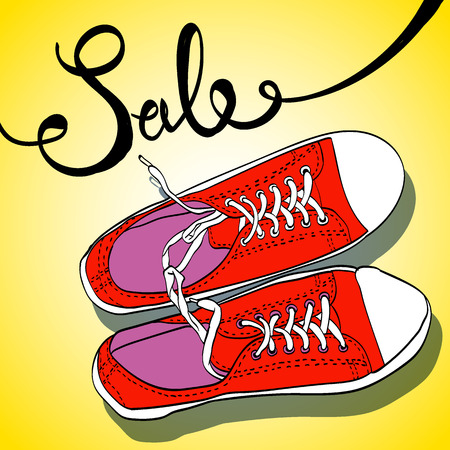 sneakers top view vector illustration