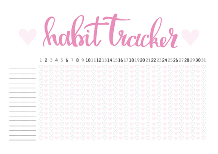 Monthly planner habit tracker blank template Imagens - 86223633