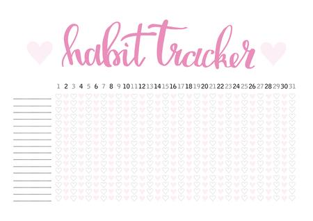 Plantilla en blanco de planificador de hábito de planificador mensual