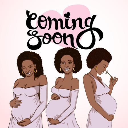Set donna incinta afro-americana in abito di gravidanza è preparata per la maternità. in attesa di una nascita del bambino Archivio Fotografico - 86223646
