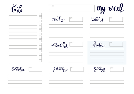 weekly planner blank to do template bullet journal Illustration