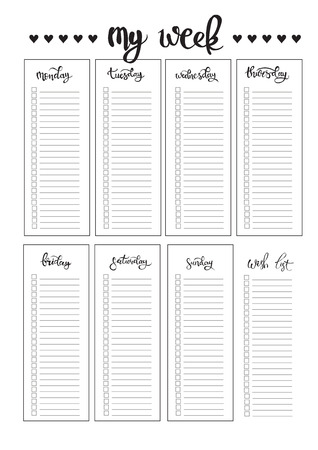 weekly: weekly planner blank to do template bullet journal Illustration