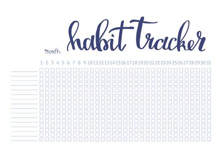 Maandelijkse planner gewoonte tracker lege sjabloon bullet journal stijl