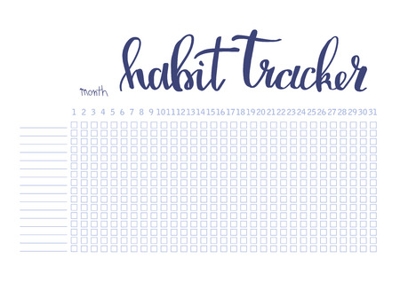 Monthly planner habit tracker blank template bullet journal style