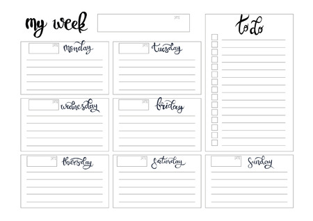 weekly planner blank to do template bullet journal 向量圖像