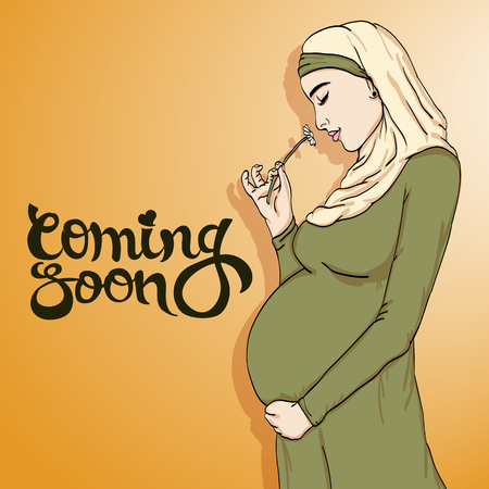 arabic muslim pregnant woman in hijab prepared for maternity. waiting for a baby birth