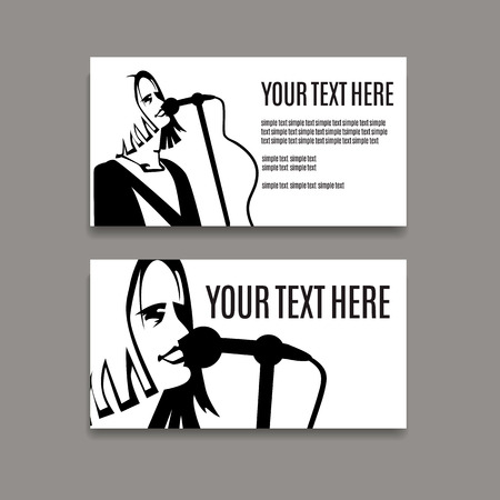 nirvana: Man with long hair singing in microphone business card template