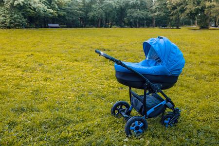Een wandelwagen wandelt in het park tegen de achtergrond van groene bomen. getinte foto