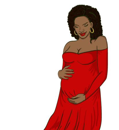 Afroamerikaner schwangere Frau in der Schwangerschaft Kleid ist für die Mutterschaft vorbereitet. Warten auf eine Babygeburt Standard-Bild - 88924105