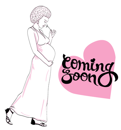 african-american pregnant woman in pregnancy dress is prepared for maternity. waiting for a baby birth