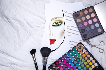 make up model: Fachion facechart makeup template for drawing cosmetics