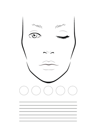 Face chart Makeup Artist Blank. Template. illustration 版權商用圖片