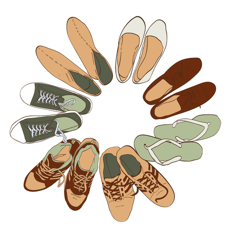space: Set hand drawn graphic Men and women Footwear, shoes. illustration of Casual and sport style, gumshoes.  sneakers, boots, pumps. isolated object copy space.