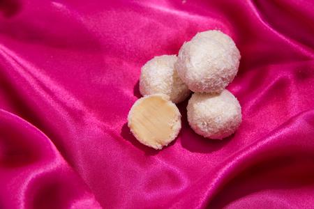 Homemade chocolate truffles . Handmade sweets. Stock Photo