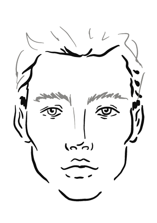 Man Face chart Makeup Artist Blank. Template. Vector illustration.