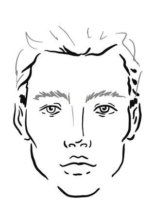 Man Face chart Makeup Artist Blank. Template. Vector illustration.
