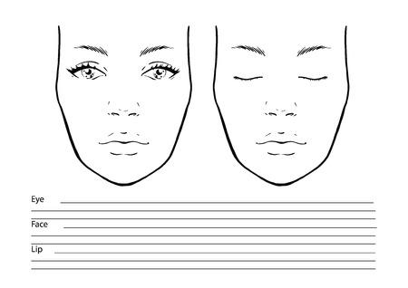 Gesichtsdiagramm Maskenbildner leer. Vorlage. Vektor-Illustration.