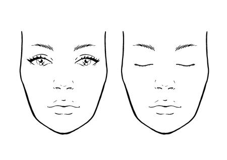 Wykres twarzy Makeup Artist Blank. Szablon. Ilustracja wektorowa.