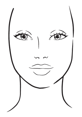 Face chart Makeup Artist Blank. Template. Vector illustration. Banco de Imagens - 117927913