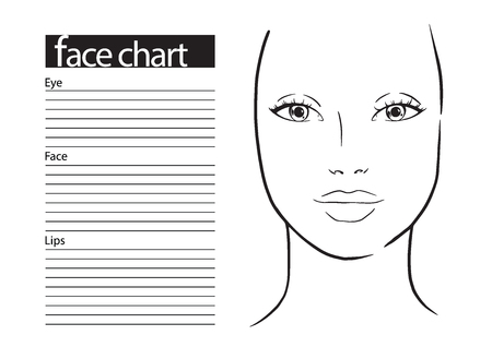Gezicht grafiek make-up artiest leeg. Sjabloon. Vector illustratie.