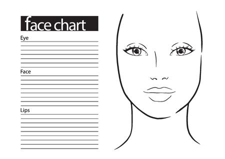Grafico viso Makeup Artist Blank. Modello. Illustrazione vettoriale.
