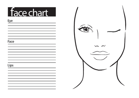 Face chart Makeup Artist Blank. Template. Vector illustration. Vector Illustration