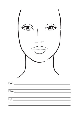 Face chart Makeup Artist Blank. Template. Vector illustration.