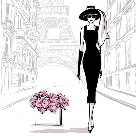 Mujer hermosa en estilo retro en París. vestido vintage sesenta años.