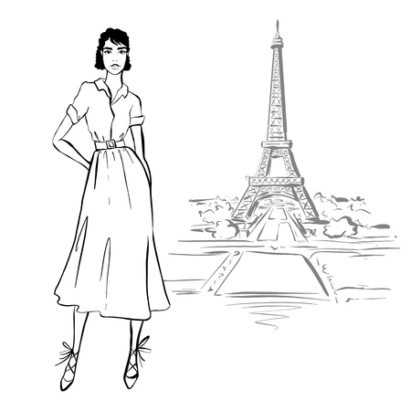 Beautiful woman in retro style in Paris . vintage dress sixties years.
