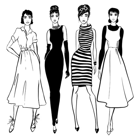 Beautiful woman in retro style . vintage dress sixties years.