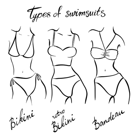 set of female swimsuit illustration. Various types of women beach clothes. Fashion sketch. Фото со стока